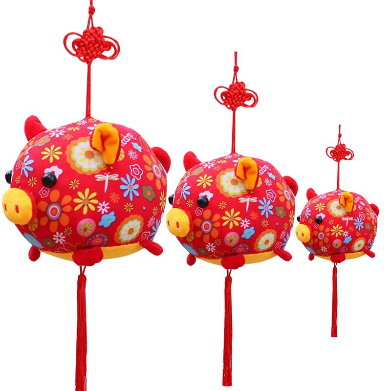 Bright Pig Year Mascot Home Decoration Pendant Joy Gold Pig Chinese Knot Plush Toy Red Pigman Doll Children's Toys A Complete Range Of Specifications