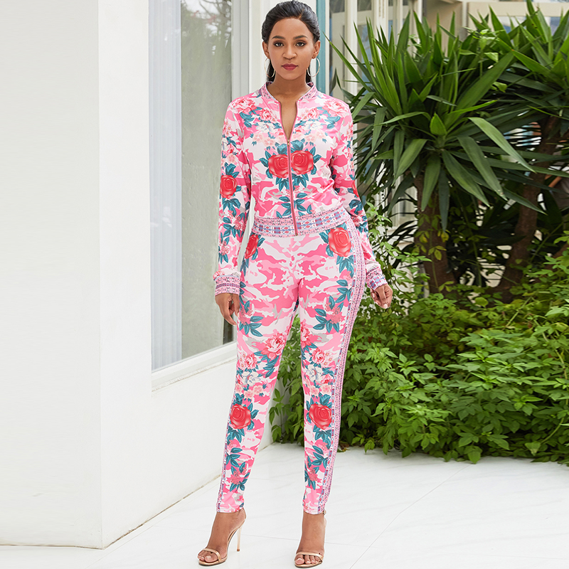 Fashion Women Two Piece Set Bomber Jacket Leggings Set Colorful Floral Printed High Waist Long Sleeve Autumn Coat Trousers Suit