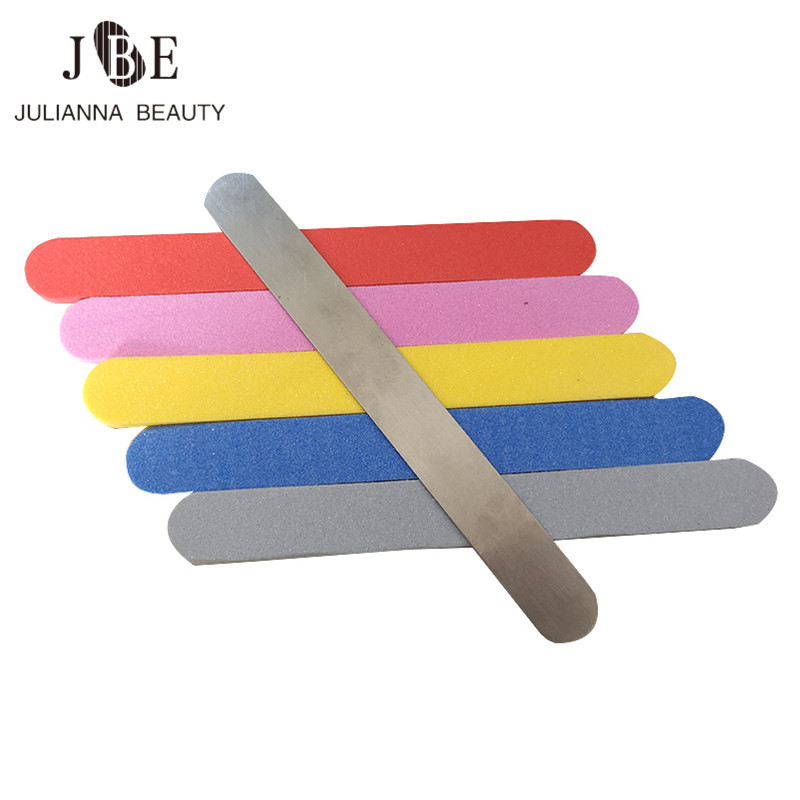 100pcs Double Side Nail Buffer Durable Replacement Adhesive Pad With Metal Hand 100/180 Nail Tool Washable Buffing File Sponge