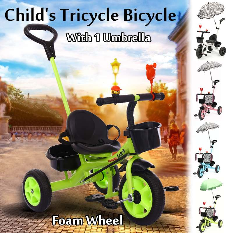 Bébé enfants bambin Trike Parent poignée pousser le long Tricycle bricolage vélo vélo marcheur nouveau cadeau pour bébé intérieur extérieur avec parapluie