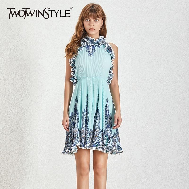 TWOTWINSTYLE Sexy Halter Mini Women s Dresses Sleeveless Off Shoulder Ruffle Summer Print A Line Dress