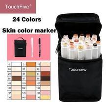 Touchfive 24 цвета эскиз оттенок кожи Маркер авторучка художник