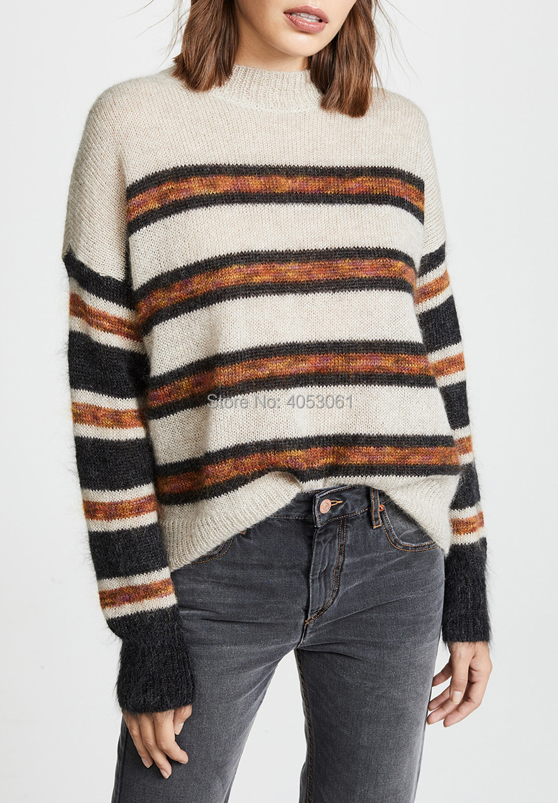 2019 Fashion Blogger Style Mohair Blend Contrast Striped Knit Sweater Bopstyle Women Stylish Round Neck Knitting