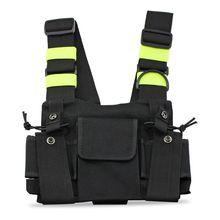 Radyo cep radyo göğüs askısı göğüs ön paketi kılıfı kılıf yelek Rig için taşıma çantası 2 yönlü telsiz Walkie Talkie baofeng