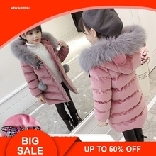 купить New Children Cold Winter down Girls Thickening Warm Down Jackets Boys long Big Fur Hooded Outerwear Coats Kids Down Jacket дешево