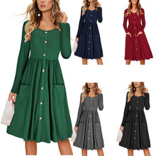 2019 Woman Autumn Long Sleeves Pocket Tunic Button Dress Female O-Neck Pleated Big Size Loose Dress Office Ladies Slim Dress