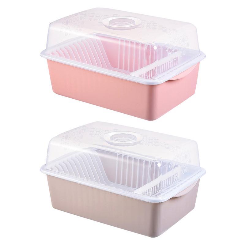 Dish Racks With Lid Utensils Flatware Holder Plastic Cupboard Tableware Cutlery Storage Box Kitchen Bar Supplies