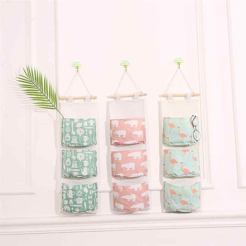 Розовый маленький медведь хлопок белье висячая сумка для хранения 3 кармана стенной гардероб Сумочка настенный мешочек косметические игрушки Органайзер