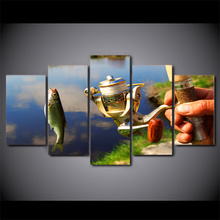 Canvas Home Decor Painting Frame Modular Fishing Rod Pictures HD Prints 5 Pieces Fishing Fish Poster Living Room Wall Art . modular canvas hd prints paintings home decor 5 pieces fishing rod pictures lake fishing posters living room wall art framework
