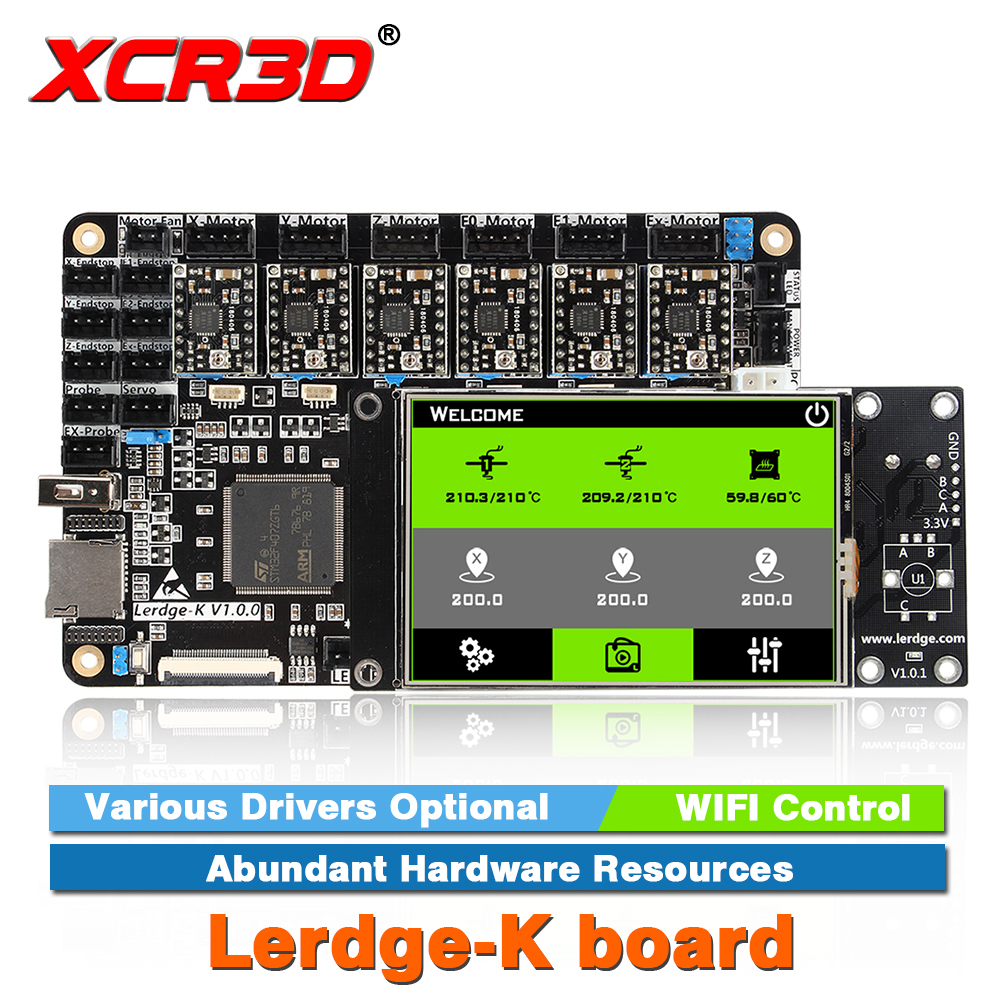 XCR3D Imprimante Partie Lerdge-K conseil A4988 DRV8825 LV8729 TMC2208 Pilotes En Option BRAS 32Bit Contrôleur écran tactile Carte Mère