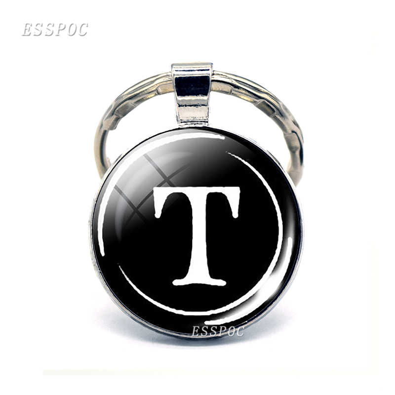 Nome personalidade Vidro Dome R-Z Carta Liga Keychain chaveiro Keyholder
