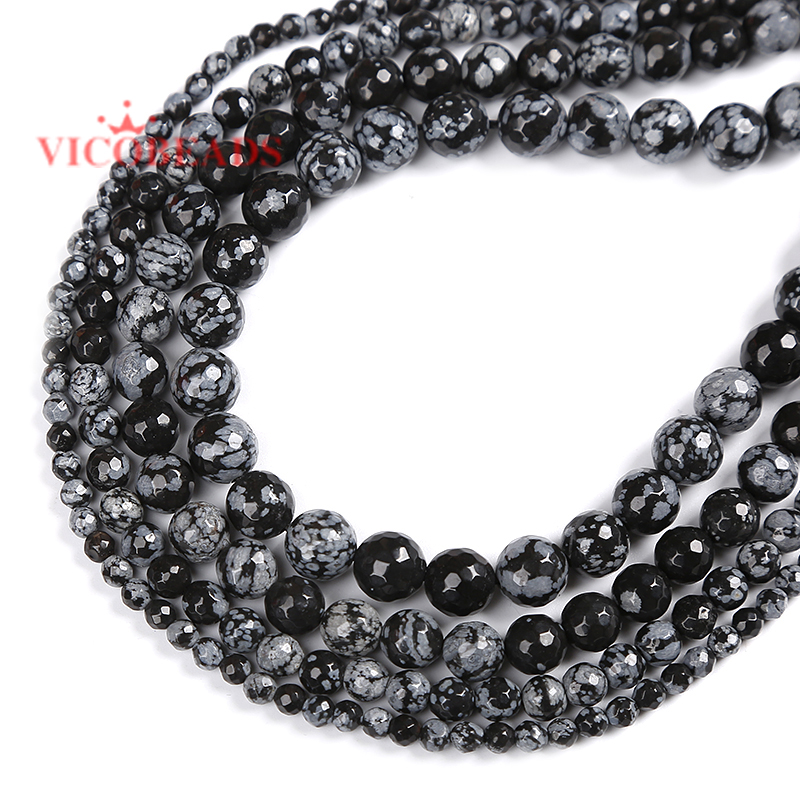 4//6//8//10//12mm Loose Beads Natural Obsidian Necklace Bracelet Jewelry Making