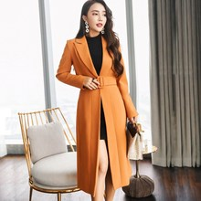 Woman Turn-Down Collar Long Trench Autumn Long Sleeve Thin Windbreaker Fashion Elegant Belt Ol Slim Black Coat