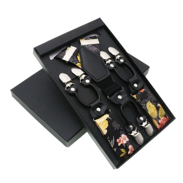 3.5cm Width Tie Non-elastic Floral Suspenders Wedding Ideas Rustic Wedding Braces For Men Women Textile Braces Flowers Pattern
