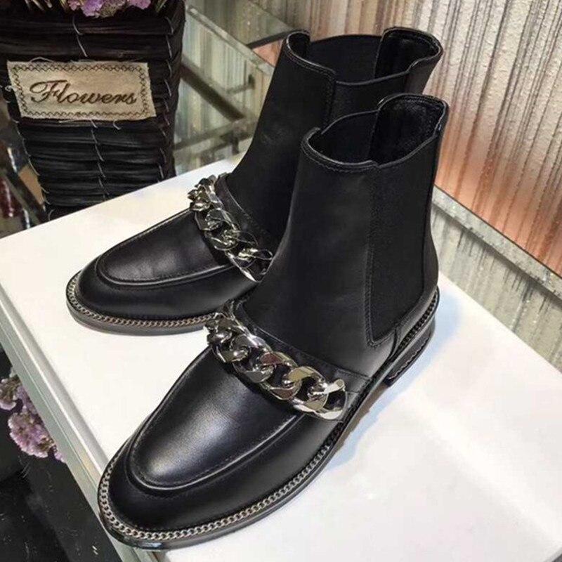Cheville Mode Rond Bottes Noir Chaîne Véritable Bout Chaussures Show As Cuir Style De Femmes Piste Martin Helsea Femme En Mentale dzw4xd