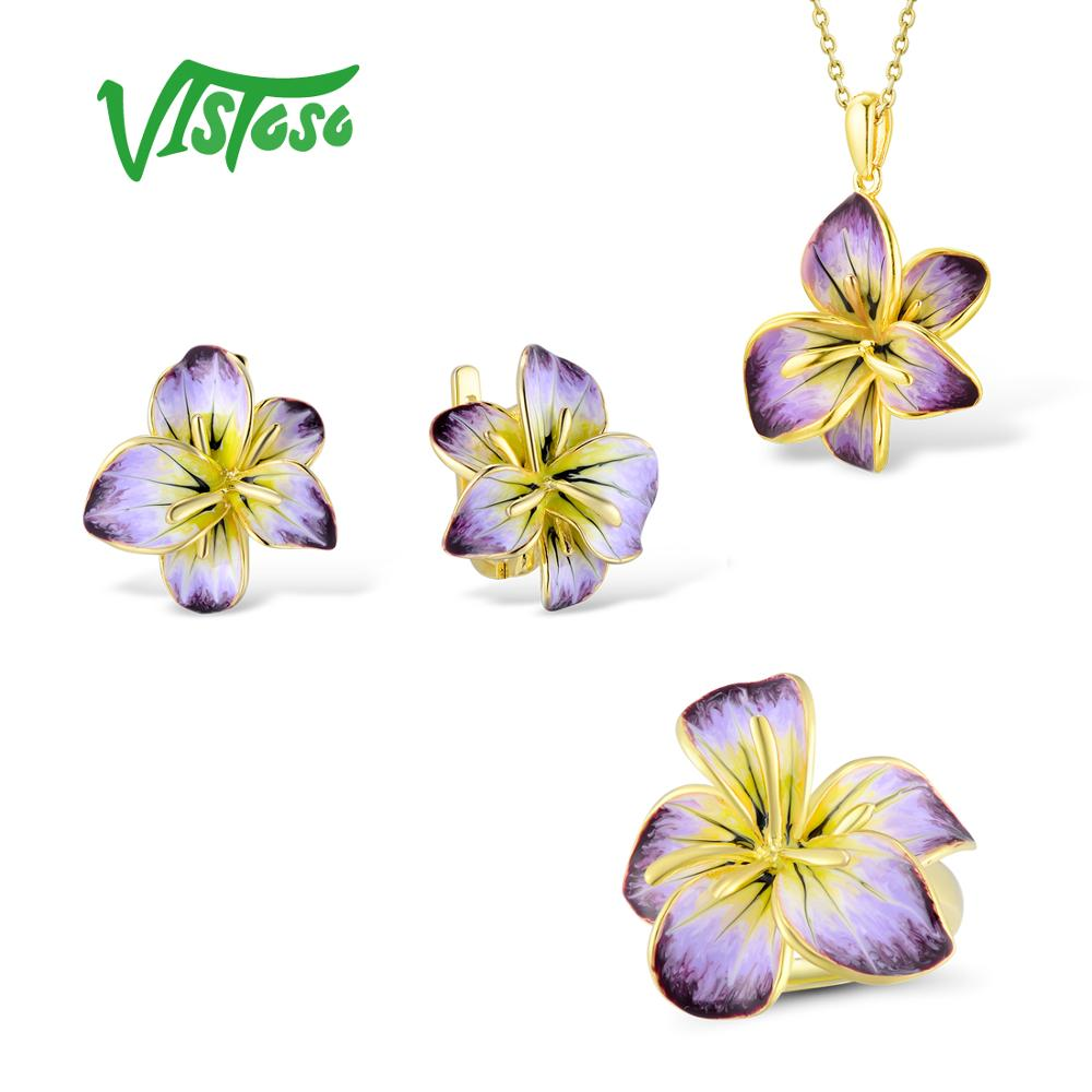 VISTOSO Jewelry Sets For Woman White Cubic Zirconia Jewelry Set Earrings Pendant Ring 925 Sterling Silver
