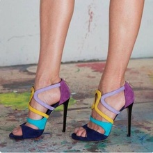 Rome Style Mixed Colors Suede Patchwork Cage Shoes Women Peep Toe Cut-out Wedding Shoes Bride Zipper Gladiator Sandals Shoes