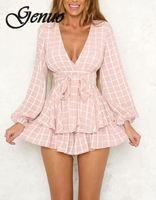 Bow Casual Women Playsuit Long Sleeve Ruffle Sexy White Playsuit V Neck Beach Elegant Shorts Jumpsuit Rompers
