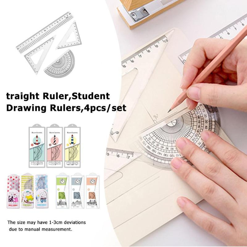 4pcs Cartoon Straight Ruler Cute Student Drawing Measuring Triangle Rulers Set School Supplies Environmental Plastics Rulers
