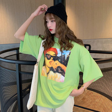 #4297 Summer Short Sleeve Long T Shirt For Women Cotton Casual Streetwear Hip Hop T Shirts Female Loose O Neck Printed Harajuku casual loose bag hip long section t shirt women 2019 new summer short sleeve o neck ladies night club female mini dress t shirt