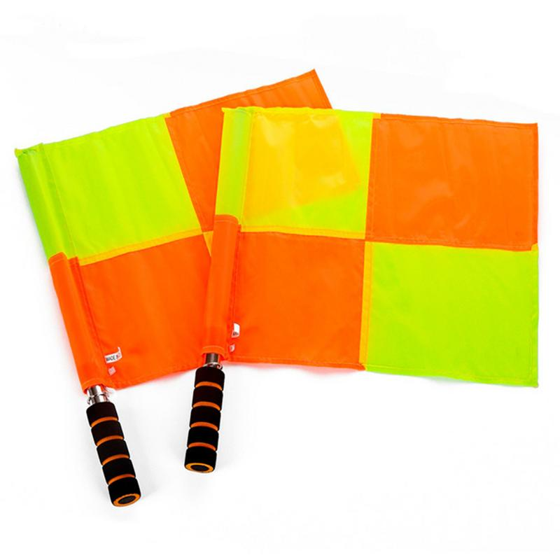 2pcs Soccer Referee Flag With Bag Football Judge Sideline Fair Play Use Sports Match Football Linesman Flags Referee Equipment