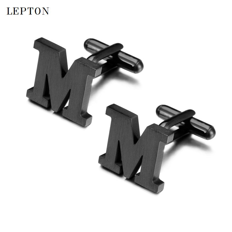 Lepton Stainless Steel Cufflinks For Mens IP Black Gun Metal Letters M Cuff Links Men French Shirt Cuff Cufflink Relojes Gemelos