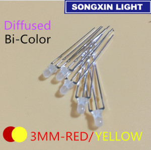 100pcs LED 3mm Diffused Yellow And Red Common Cathode Common Anode 3 Pin Round 3 mm Bi-Color LED Light-Emitting Diode