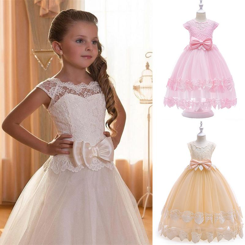 2018 Girl Princess Flower Lace Dress Baby Girl Clothing Gown Long Party Dresses Sleeveless Children Dresses Prom Girls Costume