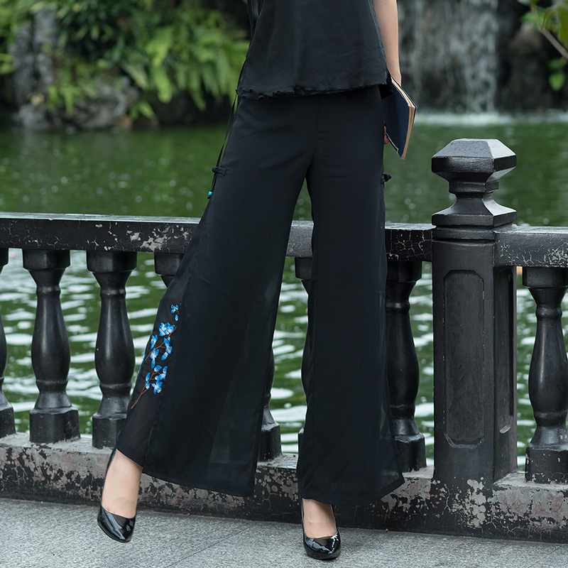 0433 Summer Black White Chiffon Wide Leg Split Pants Women Embroidery Plus Size 3XL 4XL Vintage Trousers Double Layer Loose in Pants amp Capris from Women 39 s Clothing