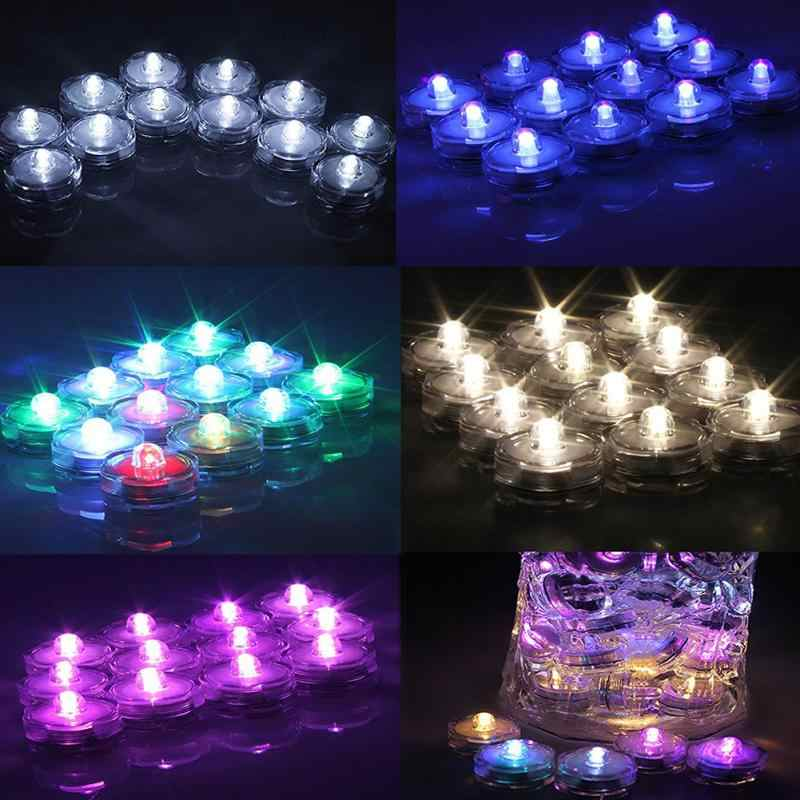 1PC Waterproof Flameless Realistic LED Tealight Tea Candles Floral Submersible Lamp Light Wedding Party Christmas Decoration