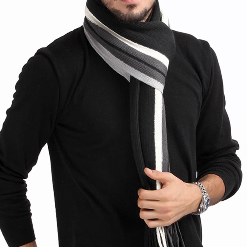 Mens Knitted Wool Shawl Scarves Fashion Winter Couple Striped Scarf with Tassels