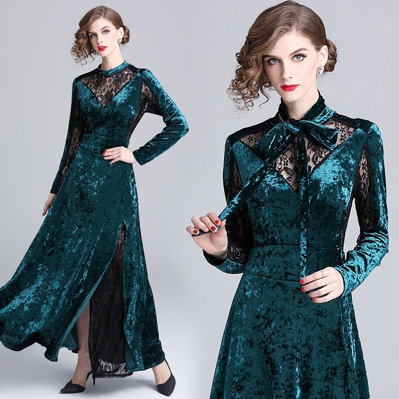 2018 hiver automne FRunway Maxi robes femmes à manches longues pure dentelle Patchwork col rond Vintage robe de soirée