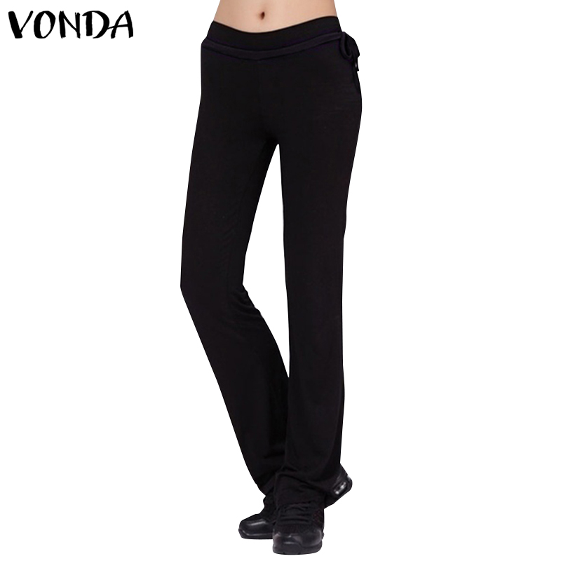 VONDA Women Pants 2019 Autumn Casual Elastic Waist Straight Pants Female Fashion Belt Bottoms Solid Trousers Plus Size 5XL