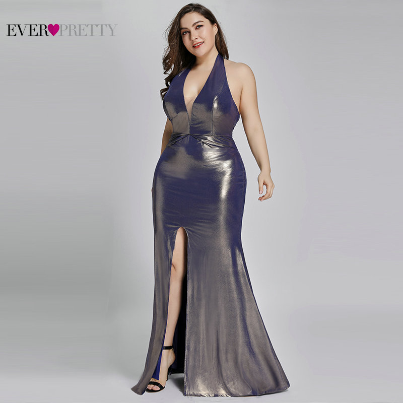 Plus Size Evening Dresses Long Ever Pretty EP07206 Mermaid Sparkle Robe De Soiree 2020 Formal Wedding Party Reflective Dress