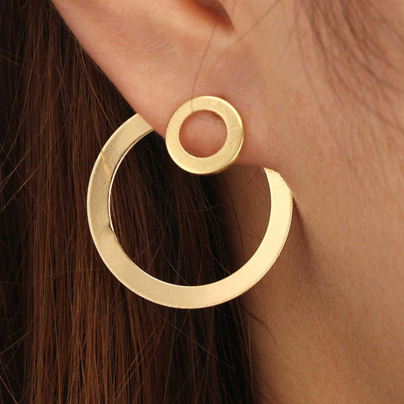 Women's  Personality  Fashion  Earrings  Simple  Rear insert  Fashion  Round hole  New 1 pair  Round  Gold earring  Trend
