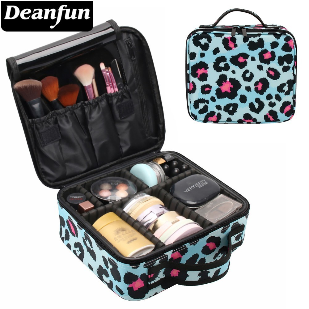 Deanfun Makeup Case Blue Leopard Pattern Water Resistant Cosmetic Bag Travel Organizer Train Cases  16011