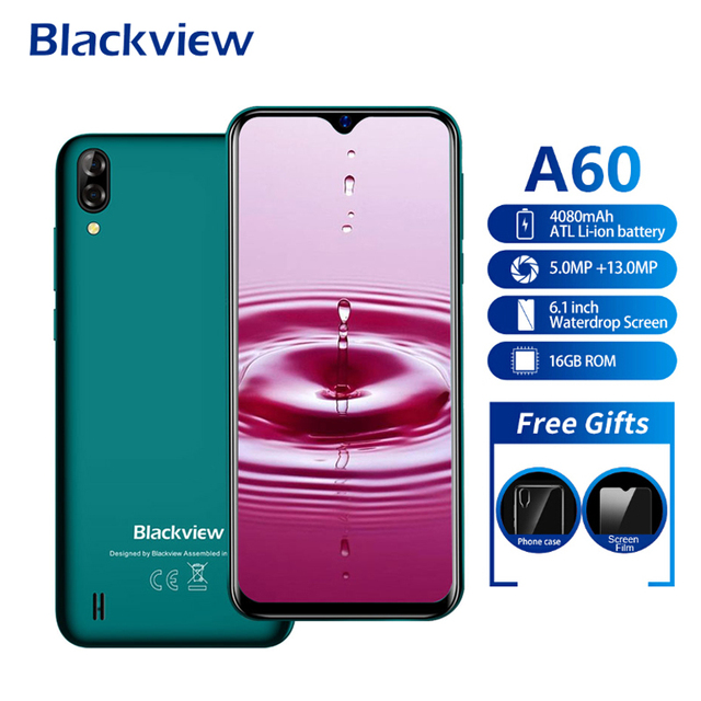 Blackview A60 Smartphone 4080mAh 19:9 6 1 Inch Android 8 1 1GB RAM 16GB ROM  Dual Sim Quad Core 13MP+5MP Camera 3G Mobile Phone