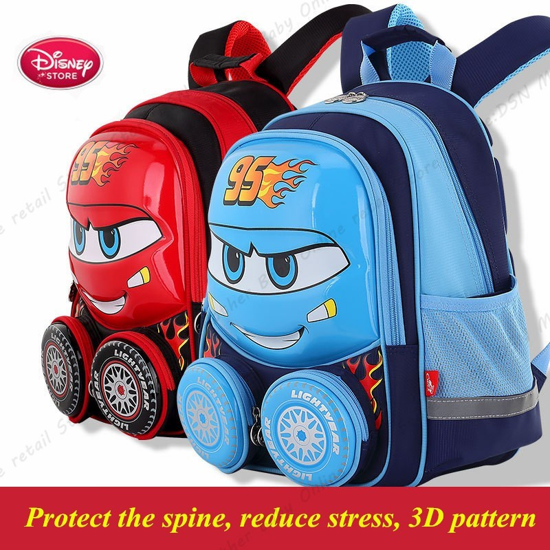 Disney 3D Lightning McQueen Waterproof School Book Backpack Kids New Upgraded Reflective Large Capacity Red Bag