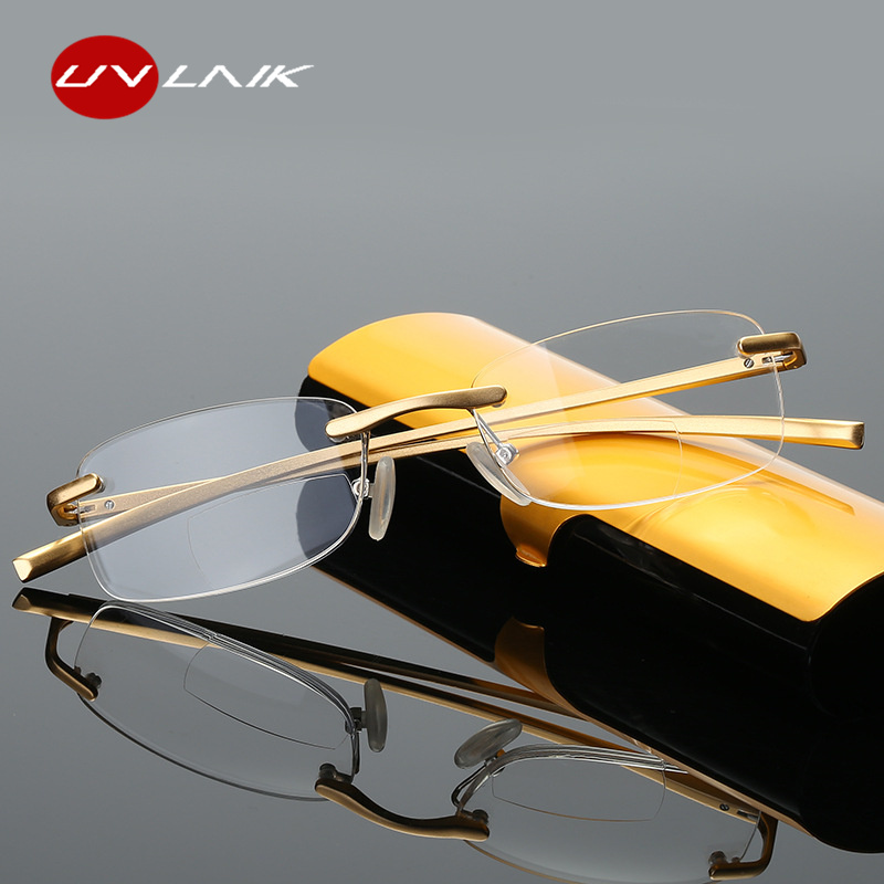 UVLAIK Bifocal Reading Glasses Men Women Rimless Alloy Frame Diopter Presbyopic Eyeglasses +1.0 1.5 2.0 2.5 3.0 3.5