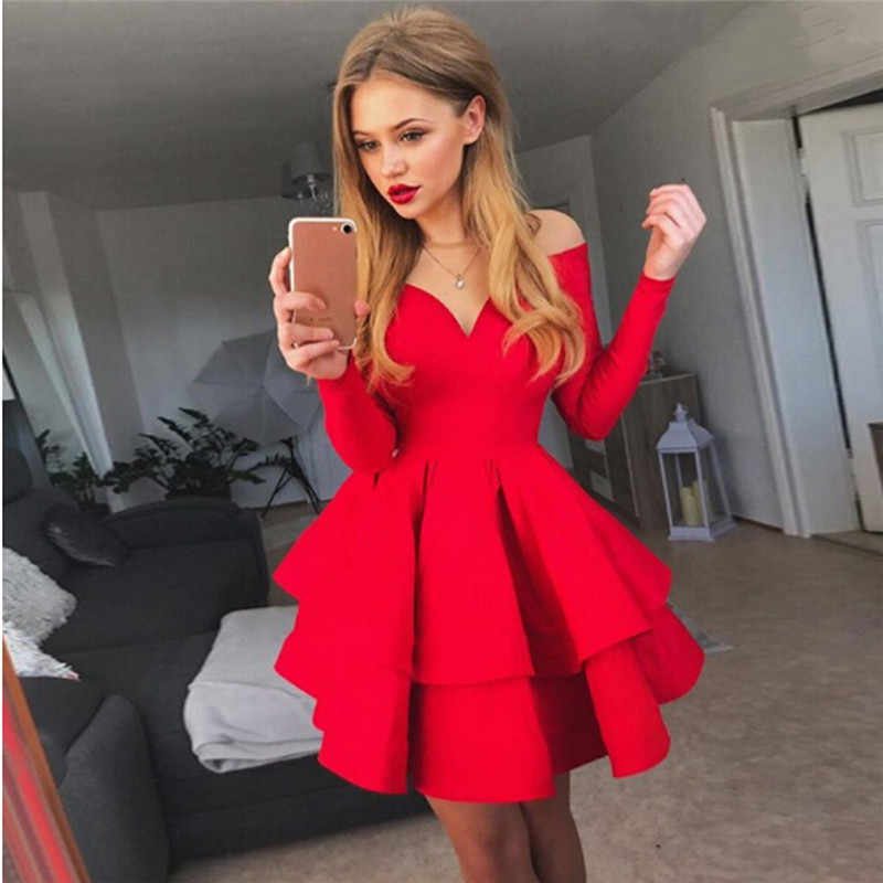 Elegant women fashion V neck summer bodycon casual long sleeve business basic cocktail party mini dress