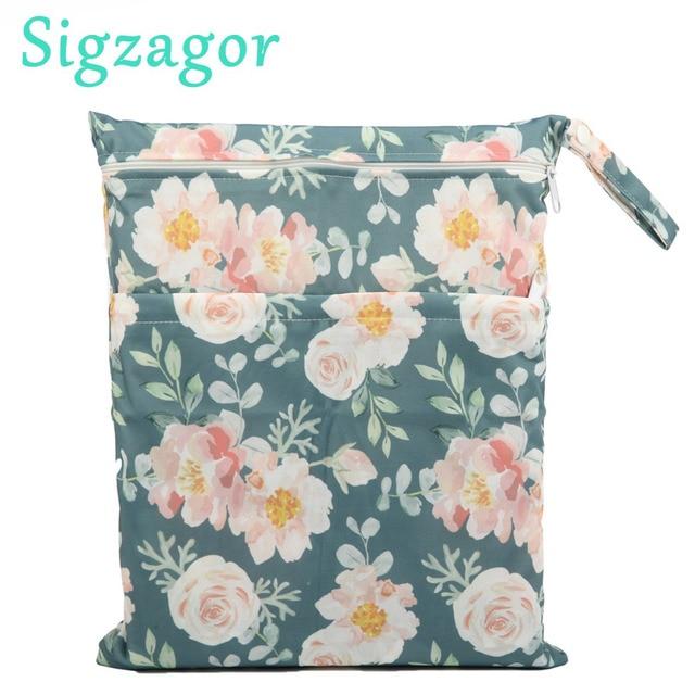 [Sigzagor] Wet Dry Bag Com Dois Zíper Do Tecido Do Bebê Saco de Fraldas Saco, à prova d' água Reutilizáveis 36 cm x 29 centímetros Coruja & Árvore 100 Projetos