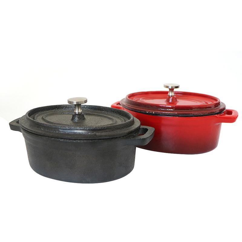 Petite Casserole fours hollandais fonte émaillée couverte cocotte ovale Mini Pot cuisinière pour les fournitures de cuisine à la maison