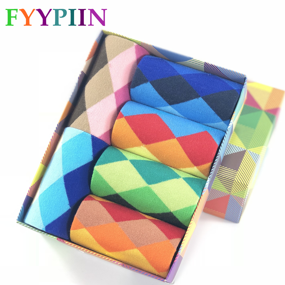 2019 Casual Mens Socks The Men's Colorful And Men Have Finally Designed Cotton Stockings For Five Pairs Of Fashionable No Box