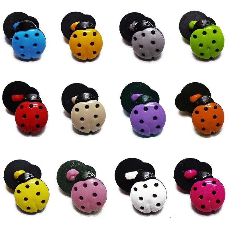 ZIEENE 1000 pièces mixte 12 couleurs enfants dessin animé coccinelle en plastique boutons poignée tige couture Scrapbooking pour les enfants faits à la main