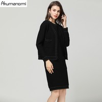 2 Piece Set Formal Knitting Black Sleeveless Knee Length Dress Full Sleeve Coat Cardigan Autumn Spring Women Two Piece Set 5XL M