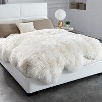 AOZUN 6 P 100% коврик из овчины для домашнего декора лохматый овечий мех кожа покрывало Рифленое одеяло для детей Зеленая краска мех бросок Пряма