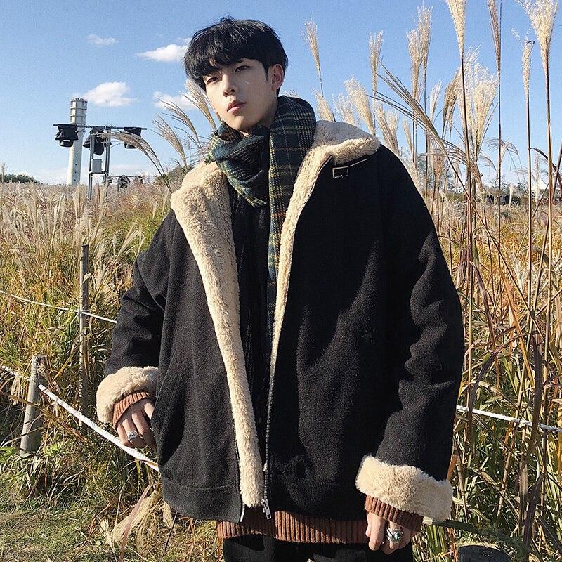 Winter Coat Men Warm Plus Velvet Thick Fashion Retro Plaid Long Jacket Man   Parka   Casual Loose Outwear Male Clothes Large Size