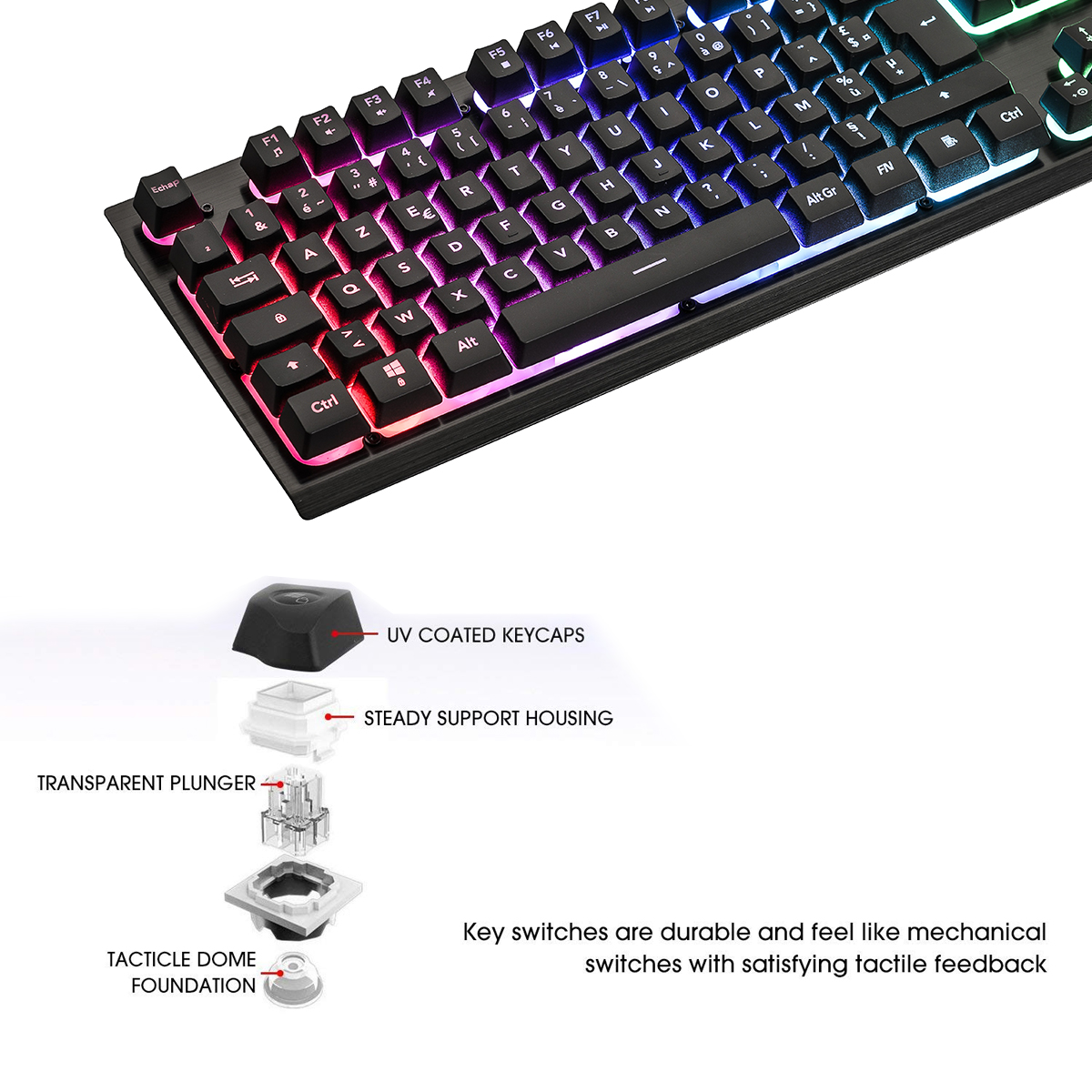 G081 RGB Flowing Illuminate Wired French Backlit Gaming Mouse keyboard Set similar Mechanical keyboard feel PC Gamer keyboard in Keyboard Mouse Combos from Computer Office