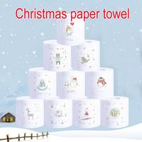 12pcs Cute animal pattern Deer Merry Christmas Supplies Printed Toilet Paper Home Bath Living Room Toilet Paper Tissue Roll