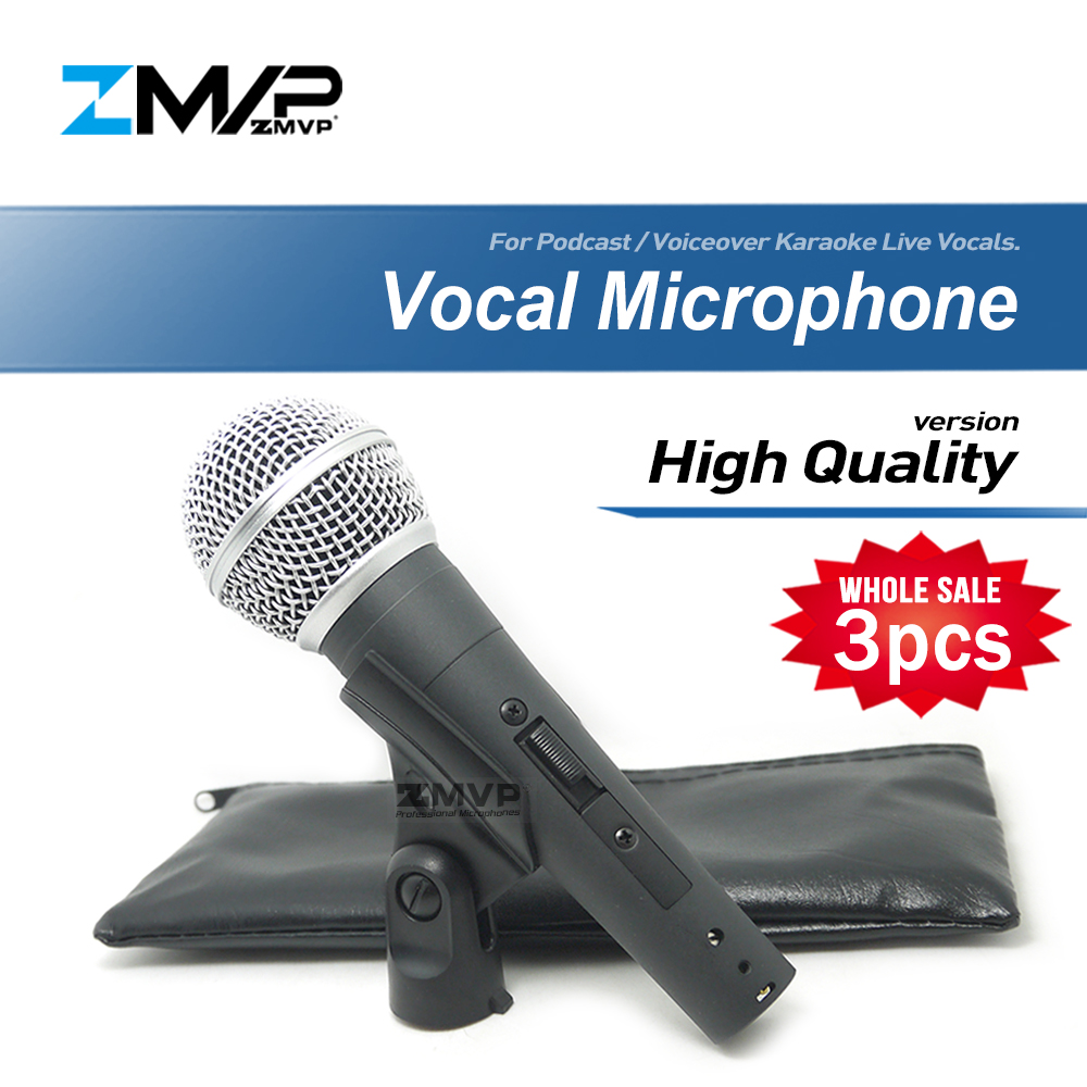 3pcs High Quality Version SM58SK Live Vocals Karaoke Dynamic SM58S cardioid Wired Microphone Podcast Microfone Voiceover